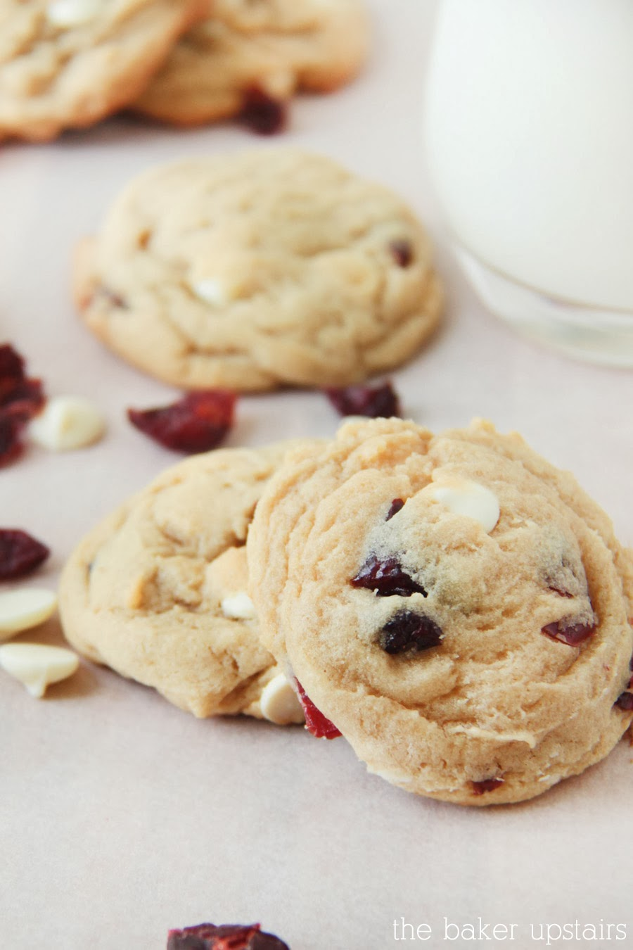 the baker upstairs: cranberry white chocolate pudding cookies