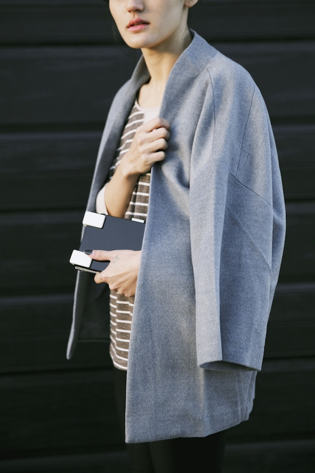 Cuponation, Cloth Cocoon Coat, Niclaire box clutch, Monochrome, winter street style