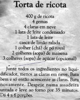 RECEITA DE TORTA DE RICOTA DE LIQUIDIFICADOR