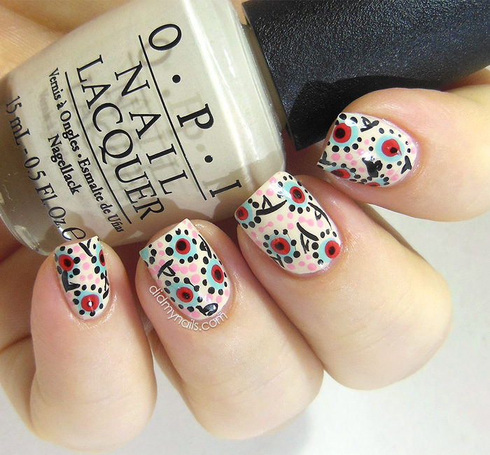 dotted floral nail art