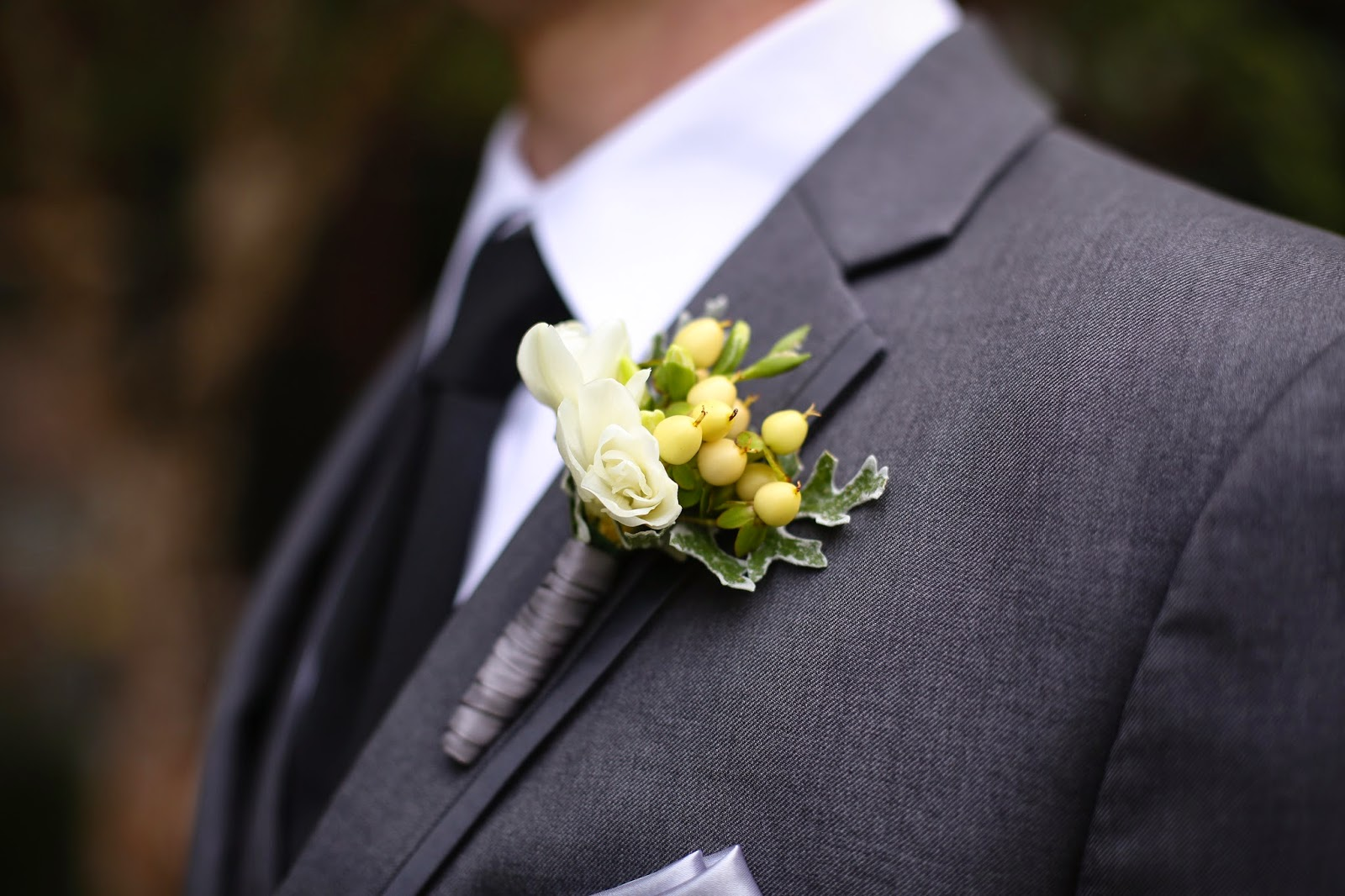 Lake Placid Wedding - The Whiteface Lodge Wedding - Hypericum Berry, White Freesia Boutonniere - Upstate NY Wedding - Splendid Stems Floral Designs