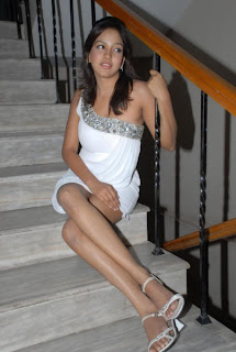 Pavani Reddy in Lovely White Short Dress Spicy Pics