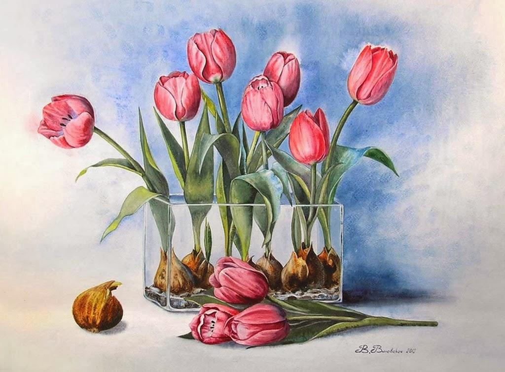 arte en cuadros de bonitas flores pintadas con acuarelas en papel