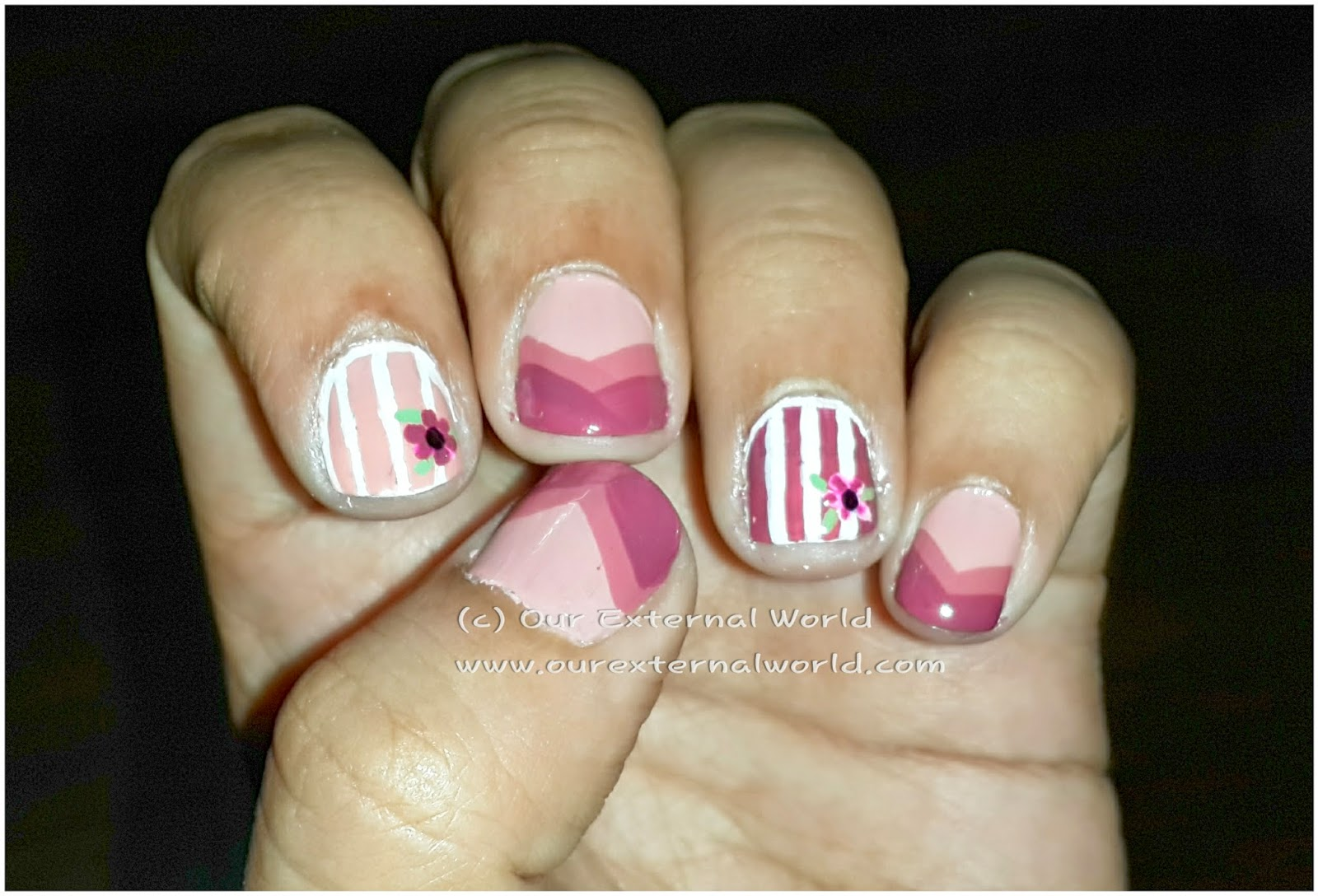 Welcome Back Summers - Chevron And Lines Nail Art Tutorial
