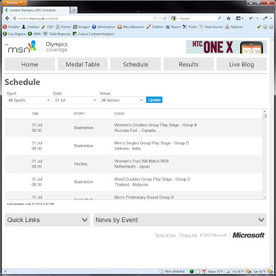 Screen shot of http://london.msn.co.uk/schedule.