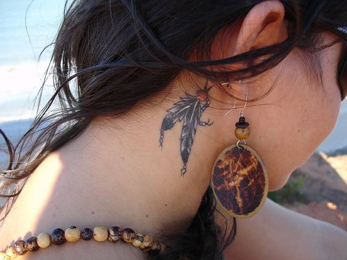 Women Neck Tattoos 1
