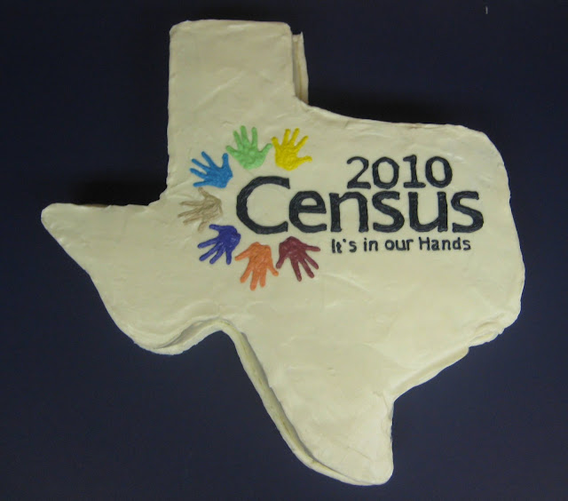 Texas Shaped Census Cake - Overhead View