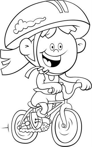 Niña en Bicicleta para colorear - Dibujo Views Andar En Bicicleta Para Colorear
