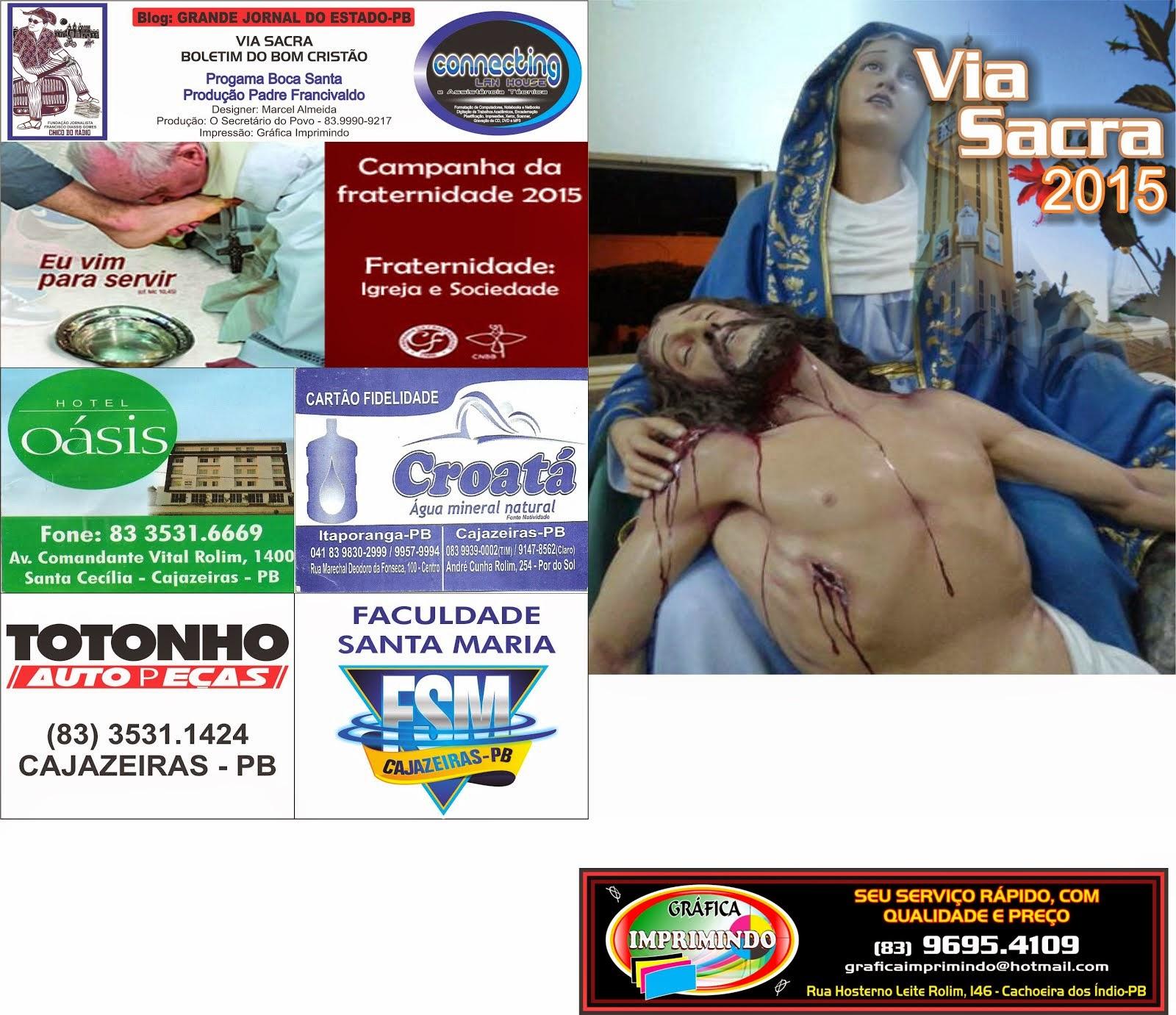 CAPA DO FOLHETIM  DA VIA SACRA ANO  2015  EM CAJAZEIRAS  PROJETO  COBEERTURA  DA SEMANA SANTA