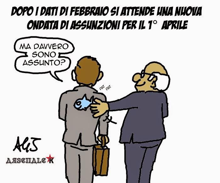 lavoro assunzioni jobs act Poletti, carnevale primo aprile satira vignetta