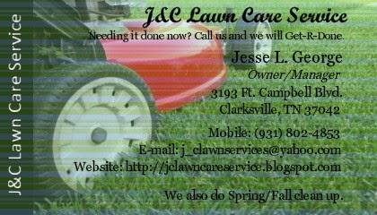 J c lawn care service business cards for Garden maintenance business