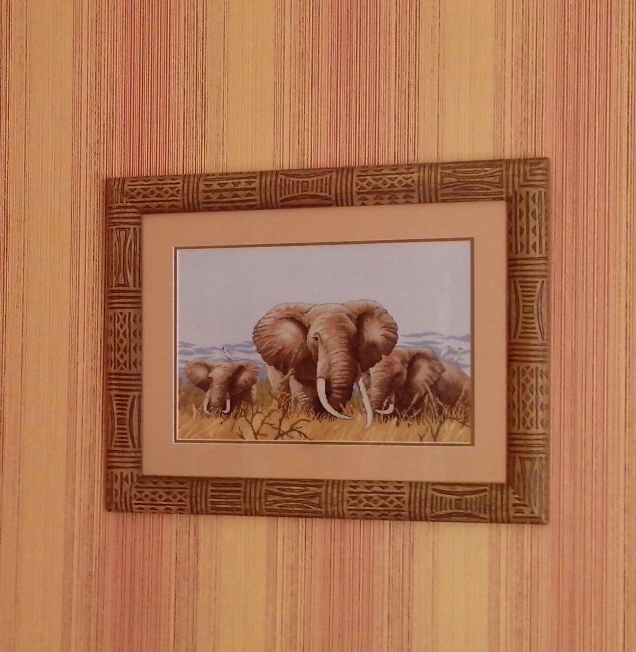 семья слонов вышивка схема