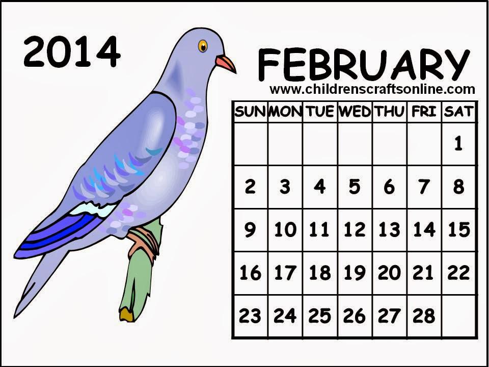Cute February 2014 Calendar Printable February 2014 Calendar
