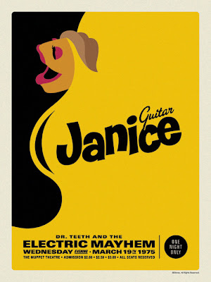 "The Muppets Dr. Teeth and the Electric Mayhem Retro Concert Poster Screen Print Series by Michael De Pippo - ""Janice: Guitar"""