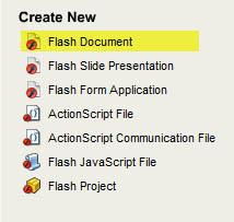 Create New Flash Document