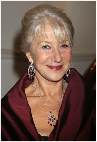 ruby earrings worn by Helen Mirren