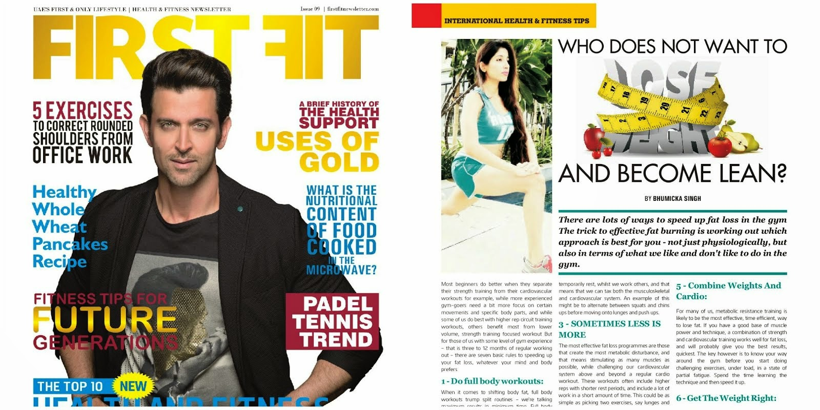 My Fitness Article Published With Hrithik Roshan On Cover Page