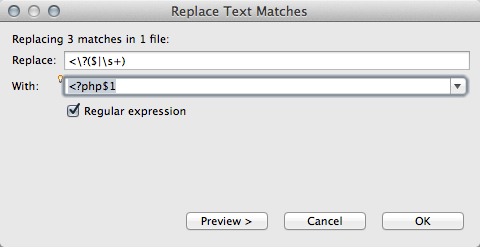Eclipse Regular Expresion Text Matches