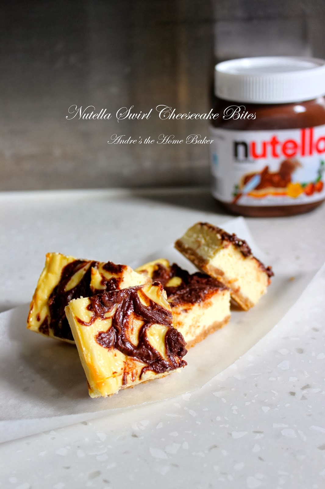 andre 39 s the home baker nutella swirl cheesecake bites. Black Bedroom Furniture Sets. Home Design Ideas