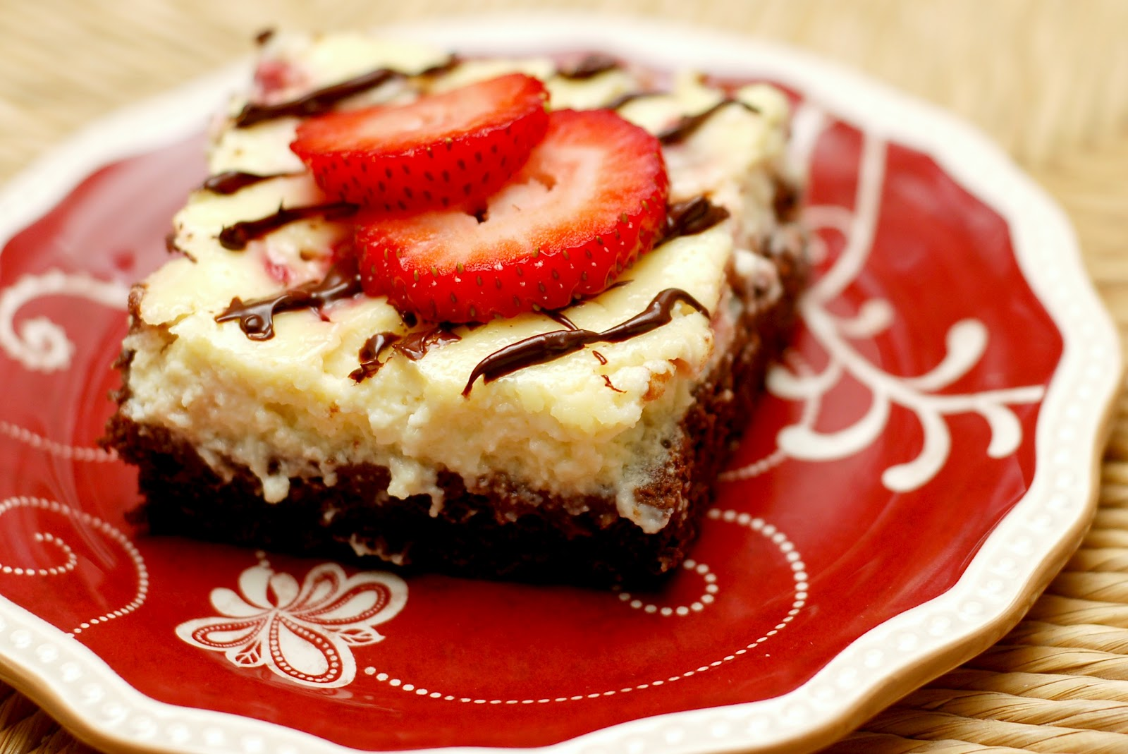 Dark Chocolate Drizzled Strawberry Cheesecake Brownies - A Kitchen ...