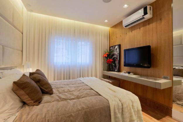 Quartos De Casal Decorados Em Azul ~ Construindo Minha Casa Clean Decora??o de Quartos de Casal com TV!
