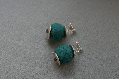 Turqouise felt earrings & Swarovski Crystals