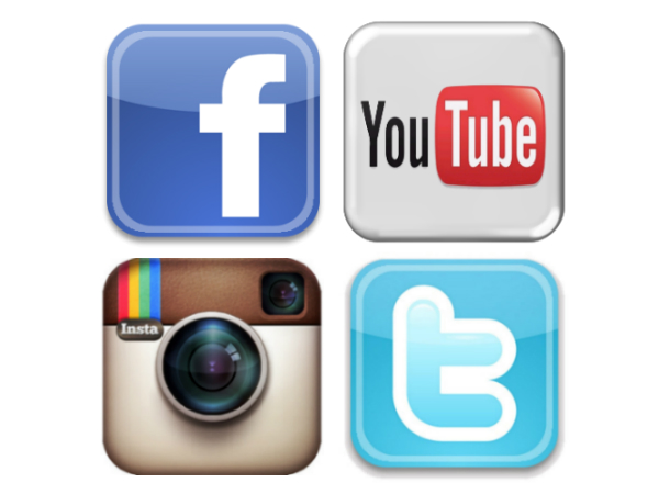 Facebook, Twitter, Instagram, YouTube