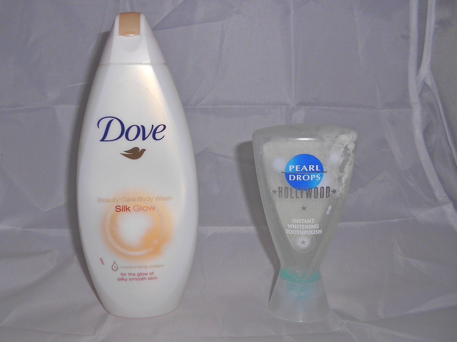 Dove shower gel and Pearl Drops toothpaste