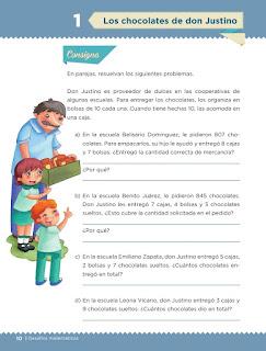 Apoyo Primaria Desafíos matemáticos 3er grado Bloque 1 lección 1 Los chocolates de don Justino