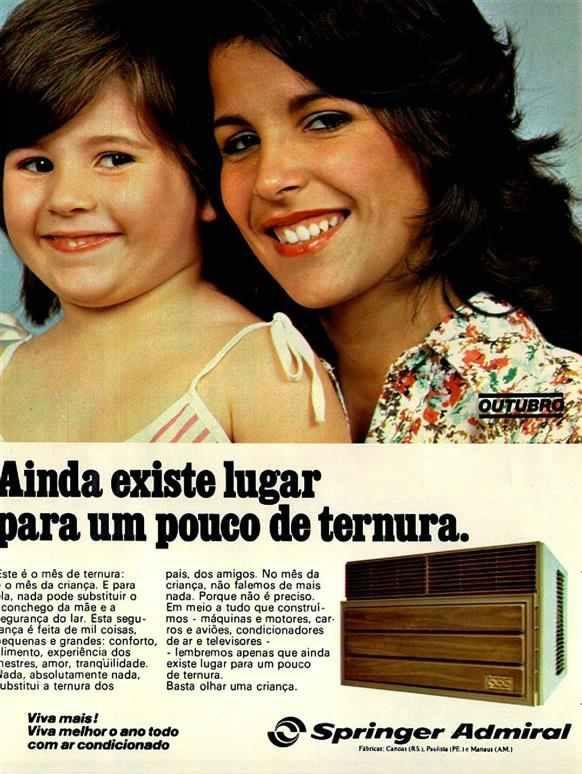 Propaganda do aparelho de ar-condicionado Springer em 1978: mãe e filha.
