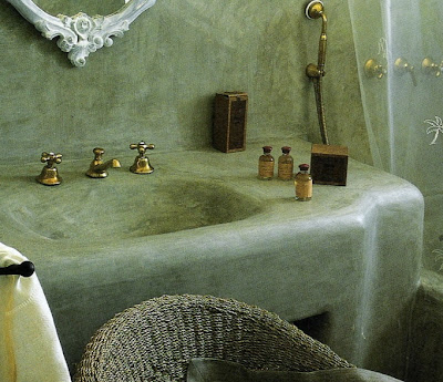 Stone concrete overlay formed sink, image via Côté Maisons, edited by lb for linenandlavender.net