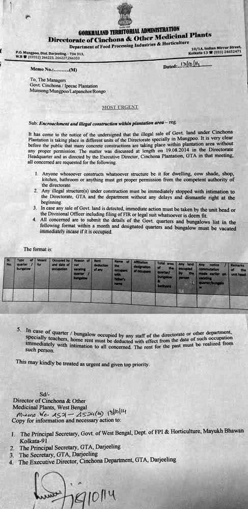 Gov notice for GTA cinchona plantation area
