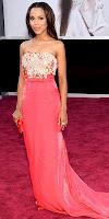 Кери Уошингтън на Оскари 2013 в яркорозова рокля с дантела на Miu Miu