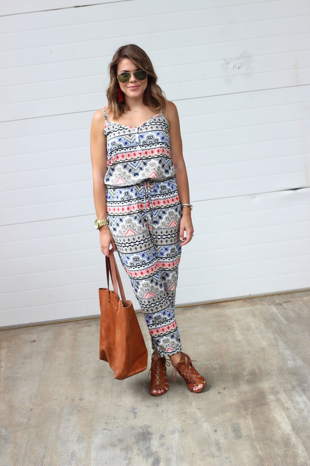 Shelby at Glitter & Gingham, Old Navy Jumpsuit, Madewell Tote