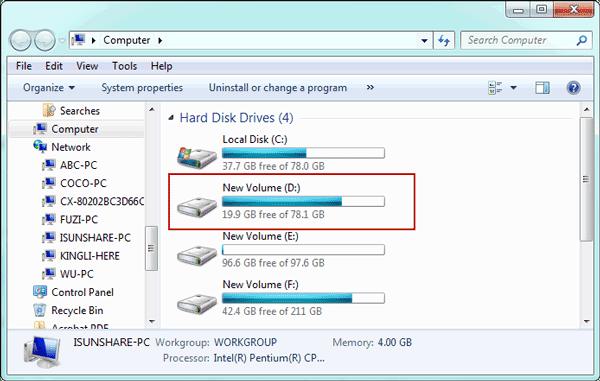 open Windows 7 computer