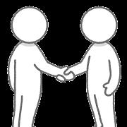 握手している人達のイラスト(棒人間)