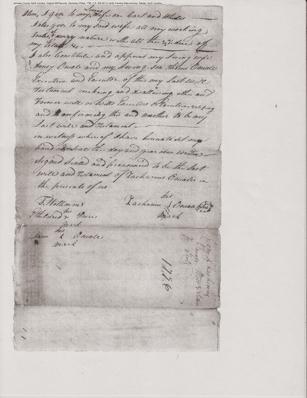Zachariah O'Neal's will, Johnston Co., NC, 1796, p. 4