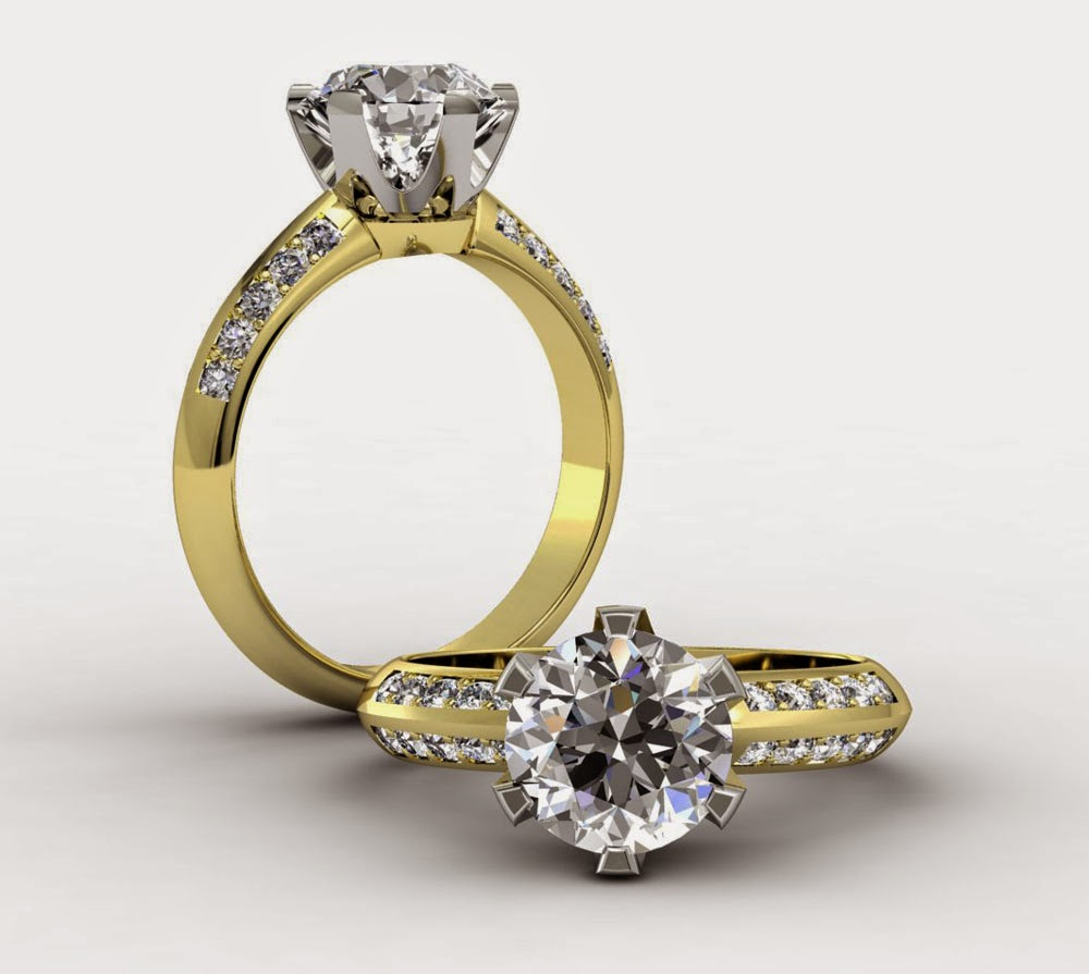 Big White Diamond Yellow Gold Wedding Rings Engagement Model pictures HD