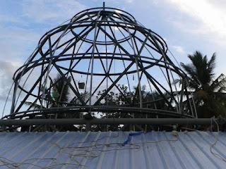 rangka, struktur, atap, kubah, masjid, konstruksi, pipa, baja, space frame, truss, system