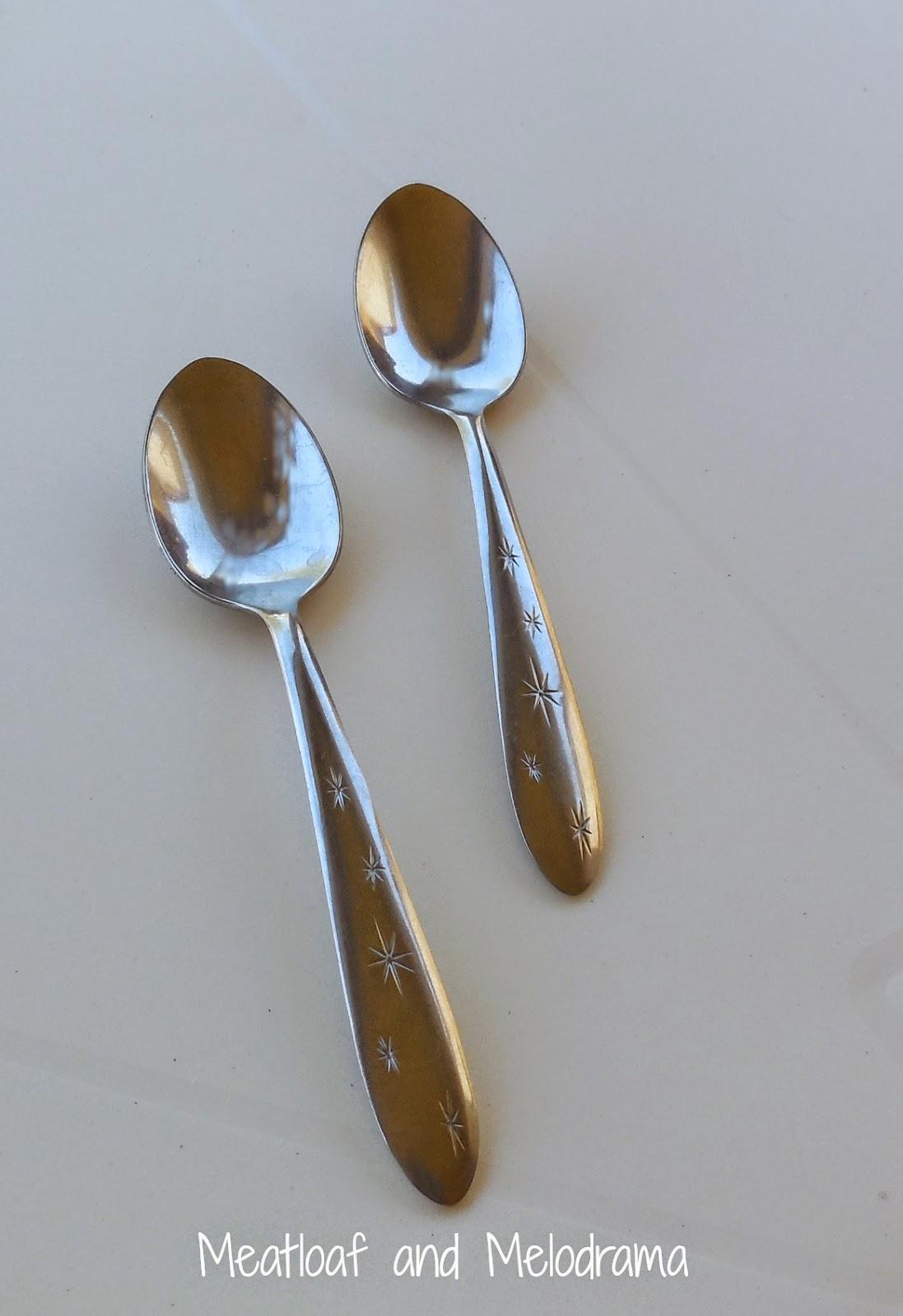 vintage stainless steel spoons starburst pattern