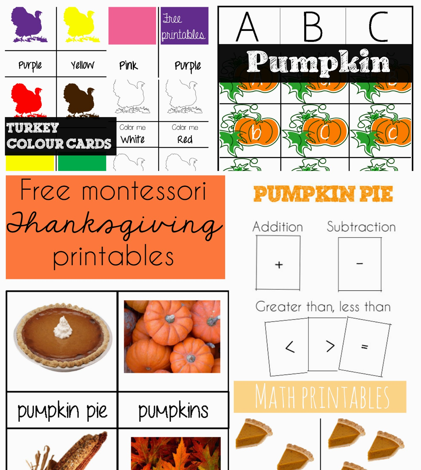 Thanksgiving Activities: Free Montessori Printables! {Welcome to Mommyhood} #thanksgivingactivities, #montessori