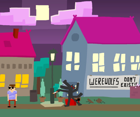"Screen shot from Moon Waltz, of a cartoon town at night. A ""Werewolfs don't exist!!"" sign is pasted on a building, with a cigarette holding werewolf in front of it approaching a man in shades and a striped T-shirt."