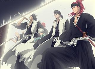 Bleach Shinigamis Ikkaku Toshiro Hitsugaya Byakuya Kuchiki Renji Abarai Anime Sword HD Wallpaper Desktop Background