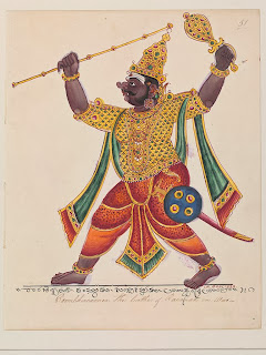 ) Kumbhakarna, the giant and terrifying brother of the demon-king Ravana, is awoken from his deep slumber. Maddened by the smell of blood, he strides into battle.
