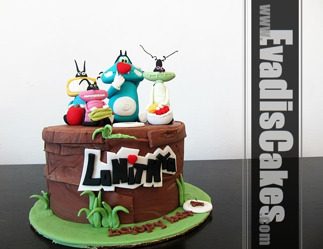 Full view picture of Oggy And The Cockroaches theme cake