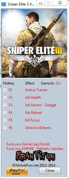 Sniper Elite 3 V1.01 Trainer +6 MrAntiFun