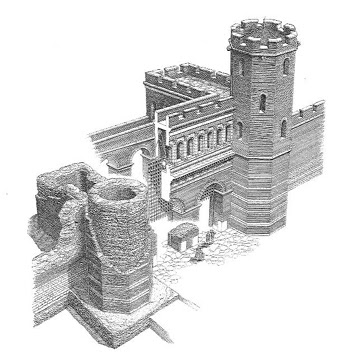 The Roman era gate of Porta Ticinese in Milan - illustration showing a hypothetical recontruction