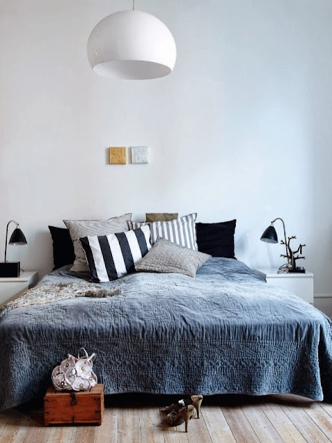 minimal bedroom, blue and white interior, cushions, bedspread, Scandinavian style