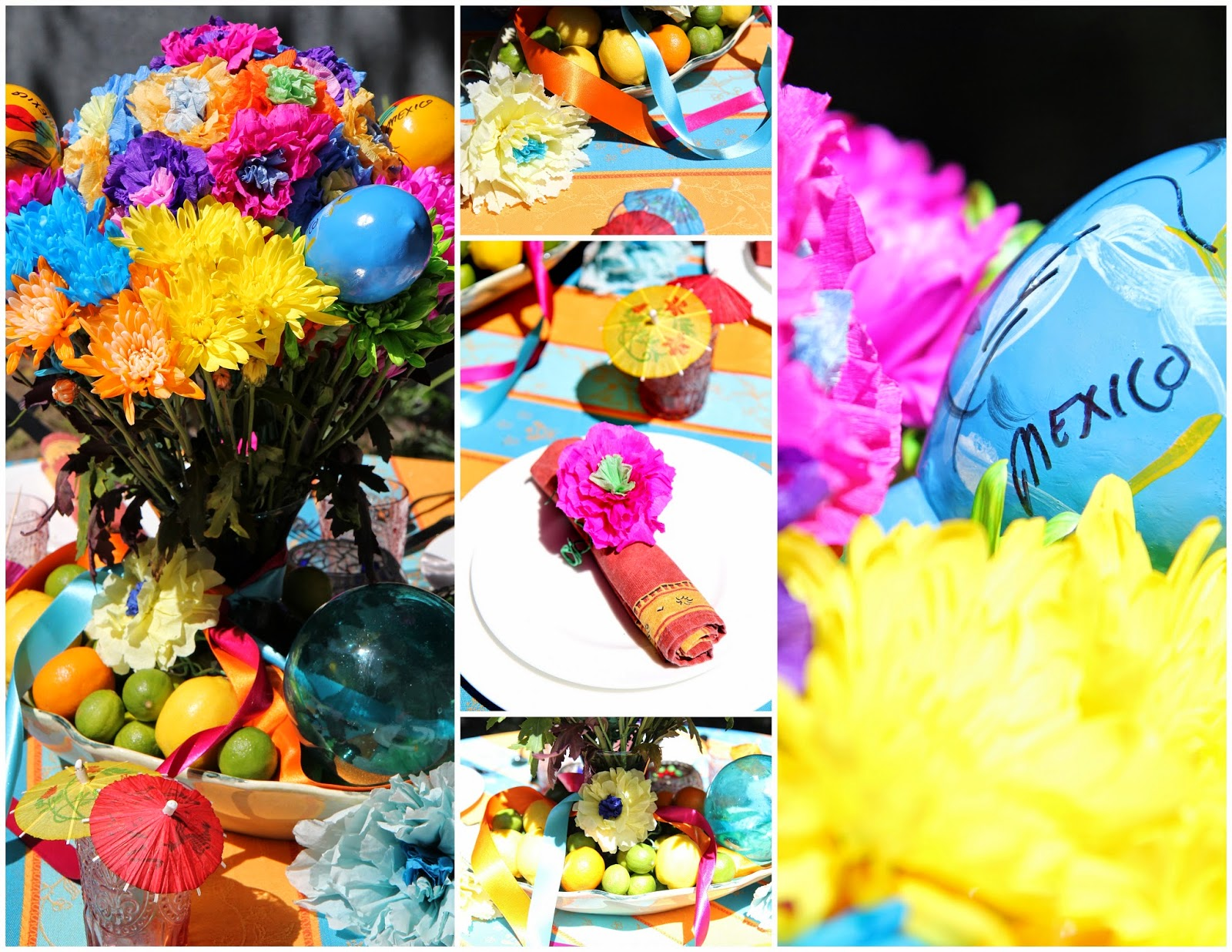 Colorful Table Decor for a Backyard Party; Cinco de Mayo Celebration -- Nora's Nest