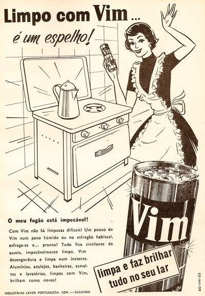 Propaganda do limpador Vim para cozinhas nos anos 50.